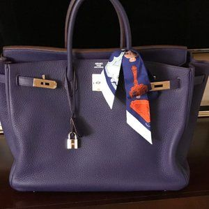 Hermes Togo Birkin Bag; Iris; 40; Palladium